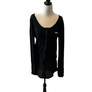 OLIVER Black Long ButtonUp Cardigan,Chiffon Bottom